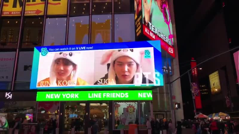 IM WHEEZING THEY LITERALLY HAVE RUN BTS COMPLETE WITH THE JIN OPENING ON THE BILLBOARD ON TOP OF THE LINE STORE IN TIME SQUARE -
