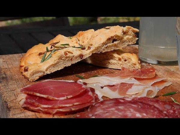 Focaccia with ciccioli Italian Cuisine