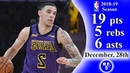 Lonzo Ball | LakersVs Clippers (19 points) | Full Highlights 2018.12.28