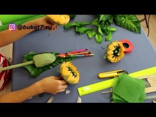 Букет с подсолнухами из конфет на День учителя, в школу. часть 1. Мастер-класс.mp4