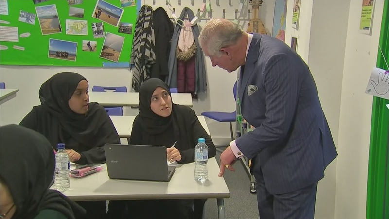 Prince Charles meets pupils affected by the Grenfell tower fire