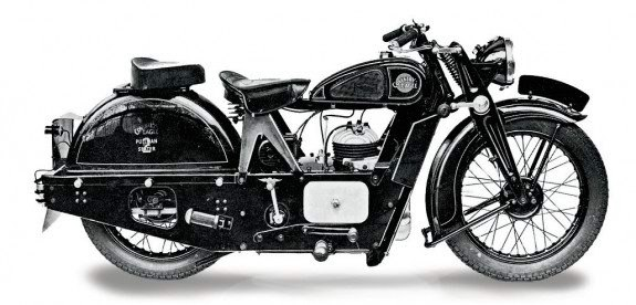 Coventry-Eagle Pullman, модификация 1937 года с 250-кубовым двухтактным двигателем и рессорной подвеской заднего колеса.