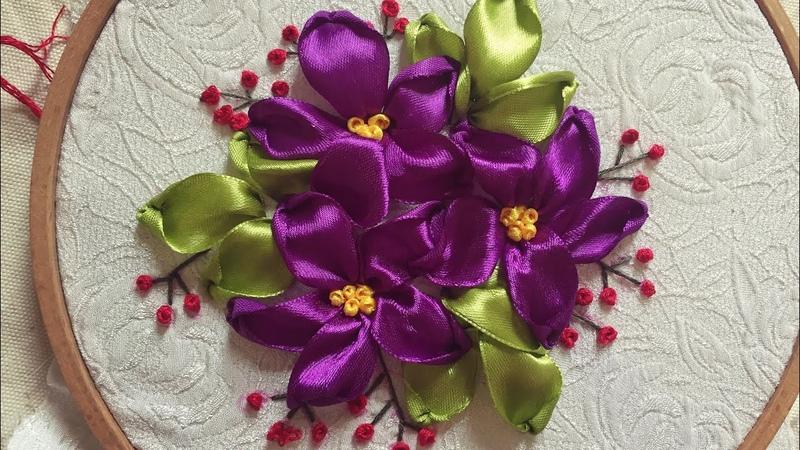 D I Y Easy Ribbon Embroidery for beginner Hướng dẫn thêu ruy băng cơ bản bài 5