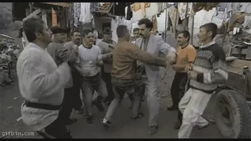 Borat dancing with his fellow Kazakhstanians