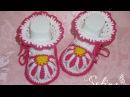 Пинетки Ромашки крючком для новорожденных Мастер класс Baby booties crochet DIY
