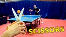 Play Ping Pong with SCISSORS I Challenge Pongfinity