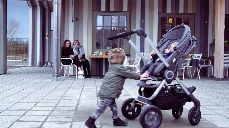 Joining friends for coffee with Stokke Scoot