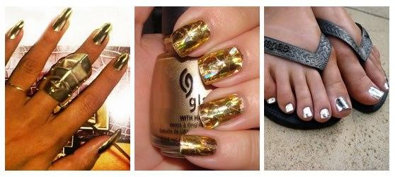 При этом ваши ногти приобретают металлический блеск и выглядят так, словно покрыты золотом или серебром.
