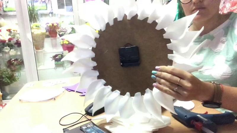Часы цветок из изолона 2мм своими руками