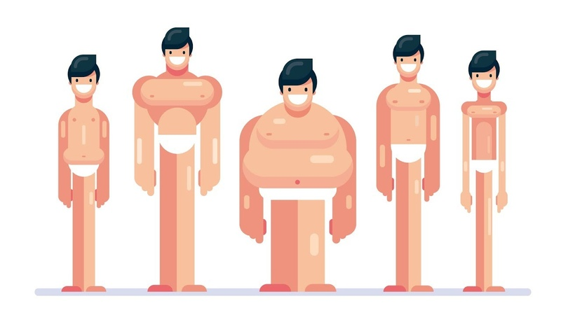 How to Draw a FULL BODY Cartoon - 5 Flat Design Male Different Body Types - Illustrator Tutorial