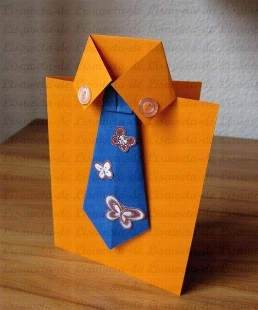 Открытка с галстуком. Мастер-класс.