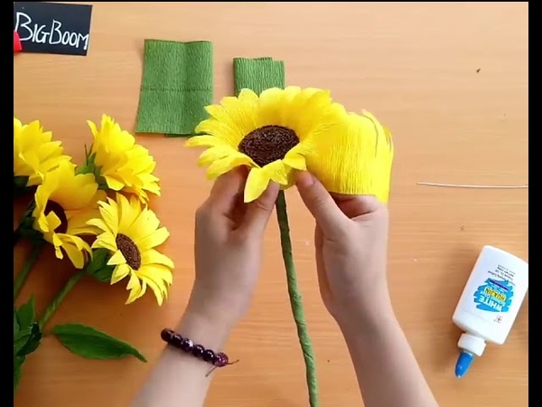 Special way to make sunflower from crepe paper - SO EASY - Let's make it for summer