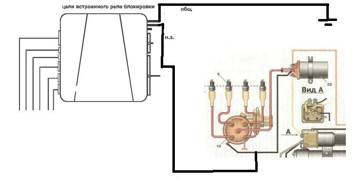 Схема зажигания москвич 2141 контактная