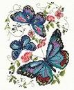 Синие бабочки (Вышивание крестом, схема) .