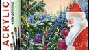 """Santa Claus & bird on Christmas tree"" How to paint 🎨ACRYLIC tutorial for beginners"