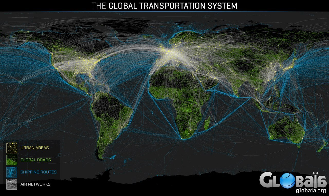 Urban areas, Global roads, Shipping routes & Air networks.