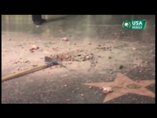 Trump's star on Hollywood Walk of Fame destroyed with a pickax