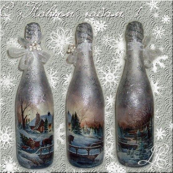 Декупаж новогодняя бутылка шампанского своими руками