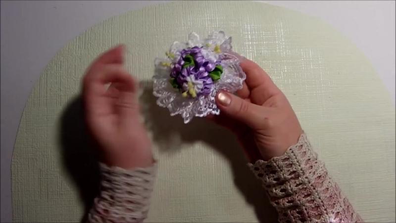 Цветы из лент, канзаши, МК, лепесток ушки