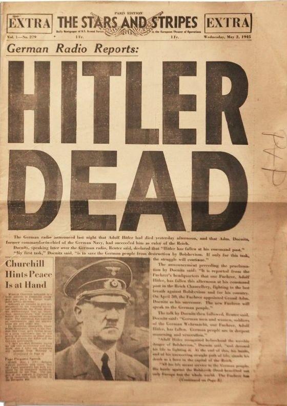 Гитлер мертв. Статья от 2 мая 1945 года.