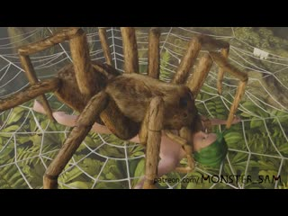 3d animated bestiality caught female forced green hair helpless human on feral insect interspecies monster monster sam