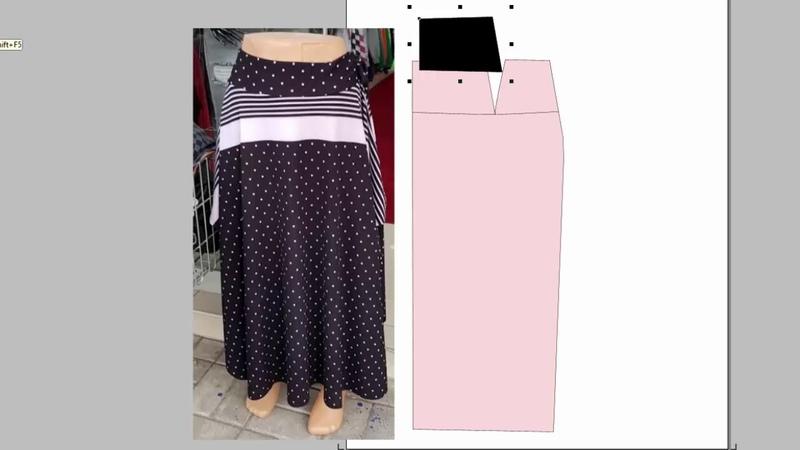 Очень простая юбка. Сшить из ткани в полоску