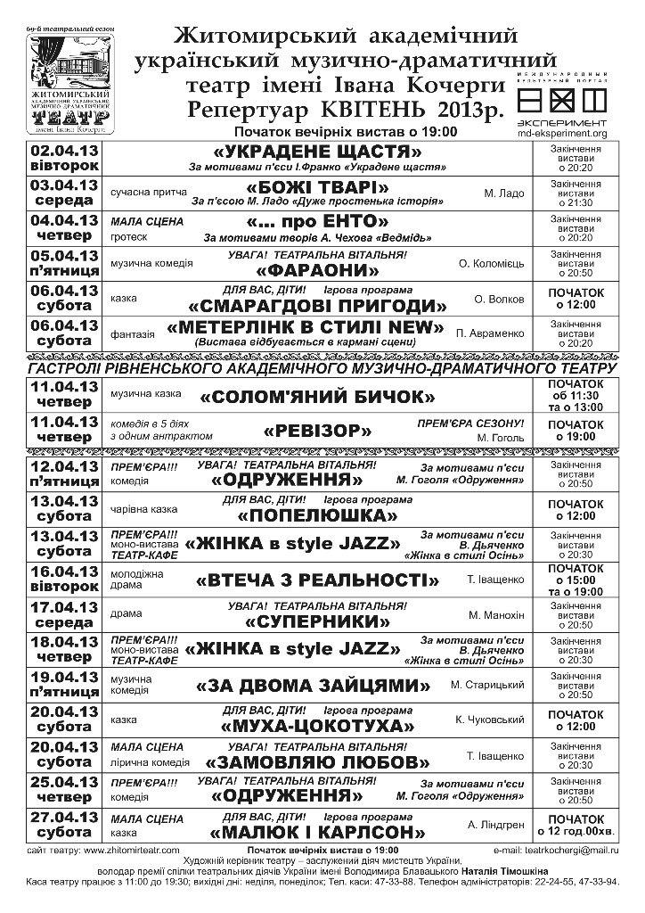 Репертуар Житомирського театру ім. Івана Кочерги на квітень 2013