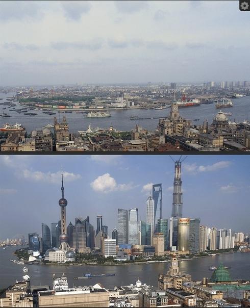 Шанхай в 1987 году и сегодня.
