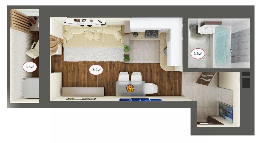 Проект квартиры-студии 24-25 м от застройщика ЮгСтройИнвест, Краснодар.