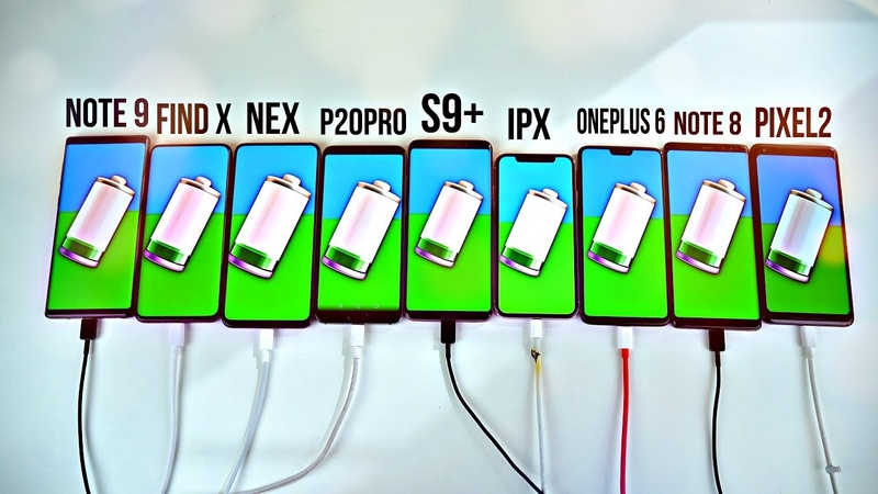 Note 9 vs S9 iPhone X OnePlus 6 Find X NEX Note 8 P20 Pro Pixel 2 Fast Charging Test