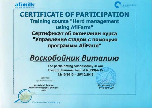 Сертификат о прослушивании курса