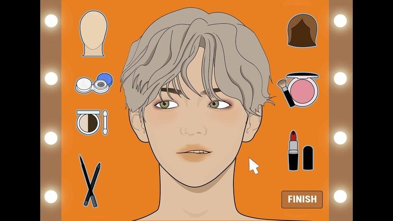K-pop 남자 아이돌 메이크업화장 게임 애니메이션스톱모션루루팡 설참