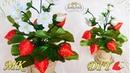 КЛУБНИКА ИЗ ЛЕНТ 🍓 Интерьерные цветы Strawberry of ribbons