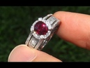 GIA Certified UNHEATED Natural VS1 CRIMSON Red Ruby Diamond 14k White Gold Ring - C587