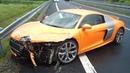 Audi R8 Crashes   Аварии Ауди Р8