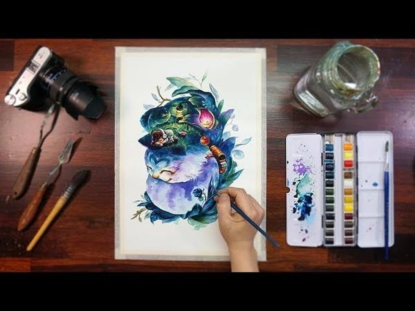 Watercolor illustration,Speed drawing -수채화 일러스트