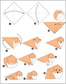 Схема оригами собачка.