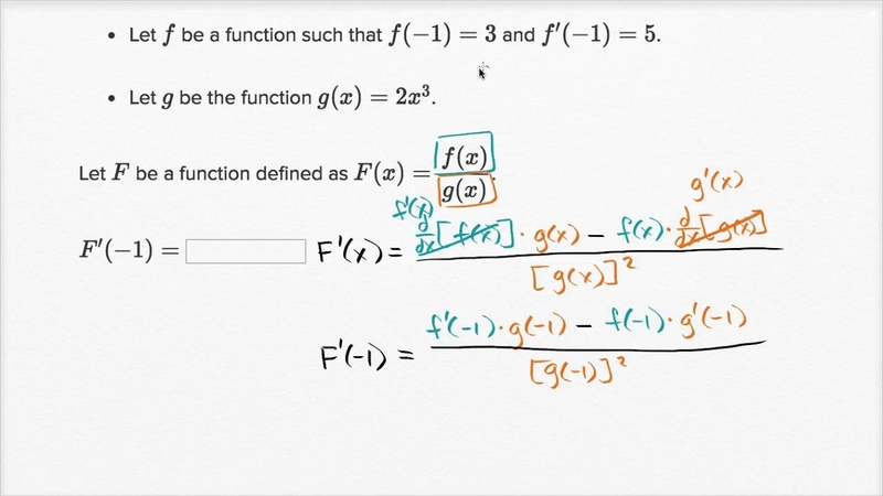 Worked example: Quotient rule with table | Derivative rules | AP Calculus AB | Khan Academy