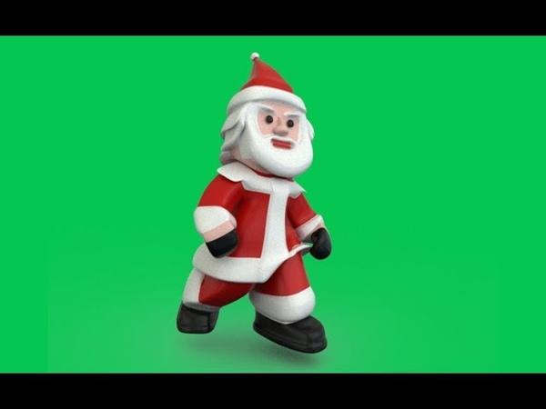 Santa walking loop green screen video|merry christmas