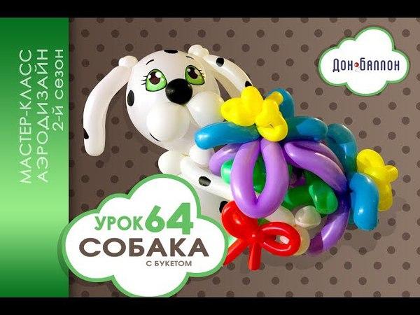 Искусство Аэродизайна. Урок №64. Собака из воздушных шаров с цветами