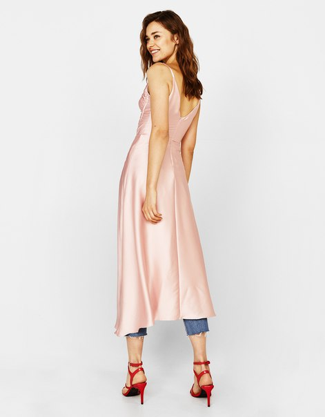 Платье из сатина с асимметричной сборкой
