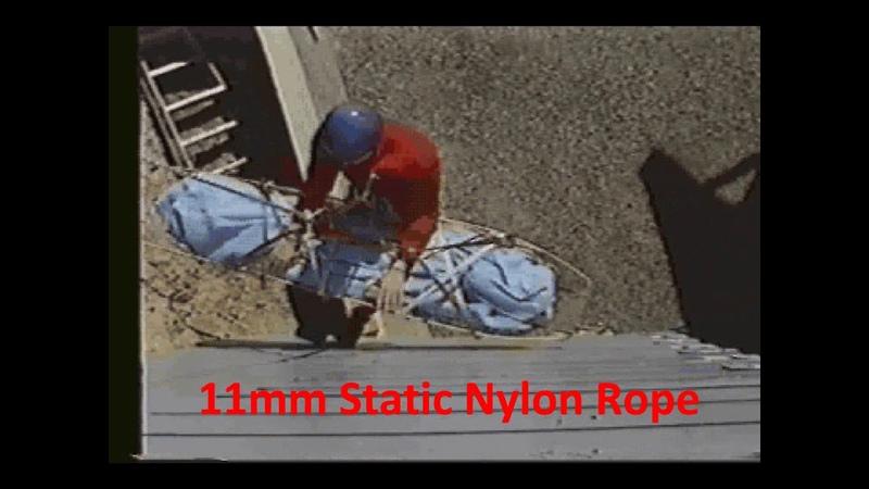 Растяжение разных веревок при падении груза 200 кг
