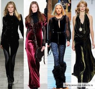Одежда из бархата в изобилии присутствует вколлекциях Bibhu Mohapatra, Dolce & Gabbana, Antonio Berardi...