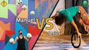 Monociclo delirante VS Malabares com bolas de futebol e claves! Jesus VS Manuel