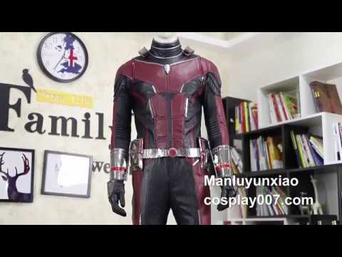 High quality Ant man Scott Lang cosplay costume detail overview