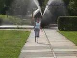 Amputee Natalie walking with her pegleg