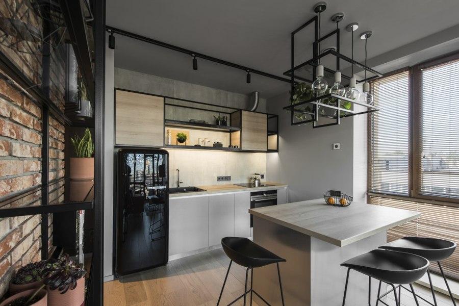 Интерьер квартиры 46 м в промышленном стиле в Вильнюсе.
