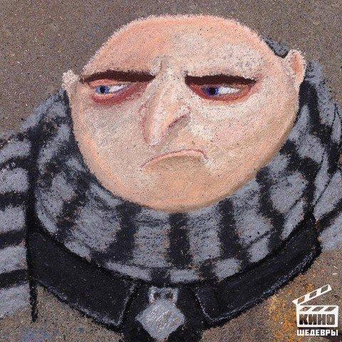 Потрясающие рисунки культовых персонажей мудьтфильмов мелками на асфальте