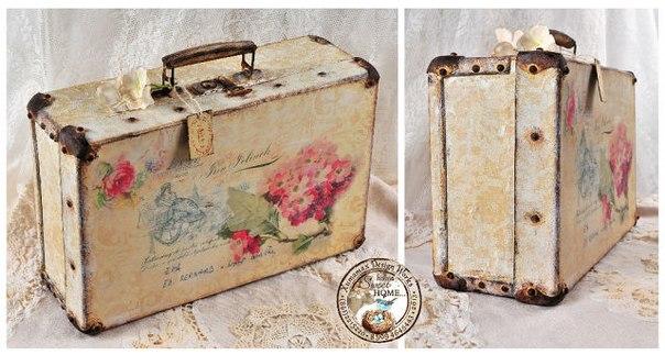 Старый чемодан в стиле декупаж