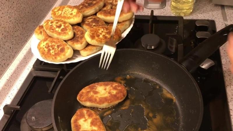 Жареные Пирожки с Картошкой и Грибами Тоненькое Тесто и много Начинки